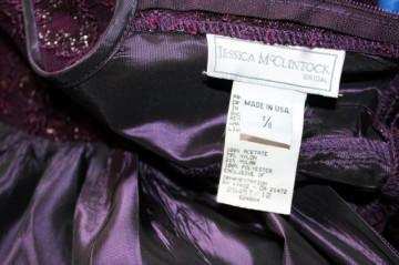 Rochie de gala vintage violet cu bust din dantela anii '80