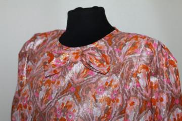 Rochie de ocazie din brocart roz cu portocaliu anii 70