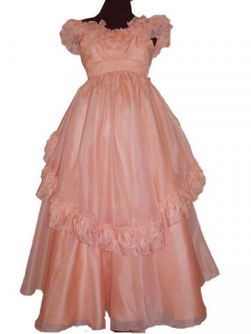 Rochie de seara vintage din organza roz piersica anii '60