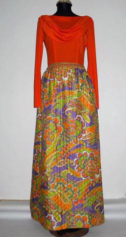 Rochie maxi vintage portocalie matlasata anii '60
