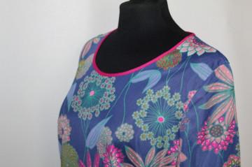 Rochie print floral pe fond albastru anii '60