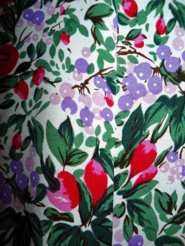 Rochie retro print fructe de padure anii '80 -  '90