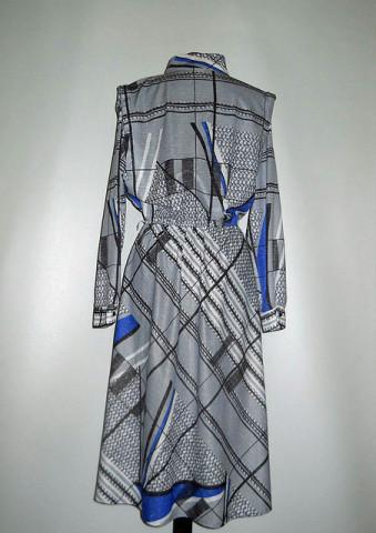 Rochie vintage print geometric gri si albastru anii '70