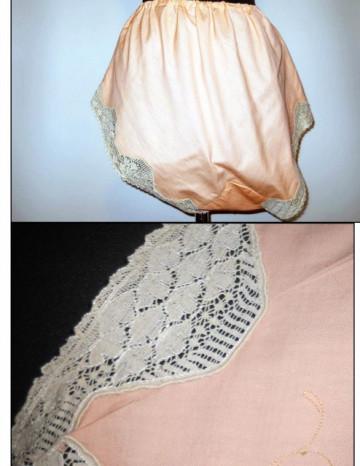 Set vintage roz piersica ornamente dantela Chantilly anii '20