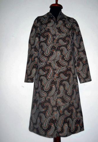 Rochie vintage print oriental maro anii '60
