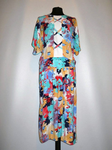 Rochie retro print floral multicolor anii '80