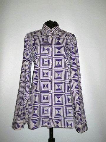 Camasa vintage op print violet anii '70
