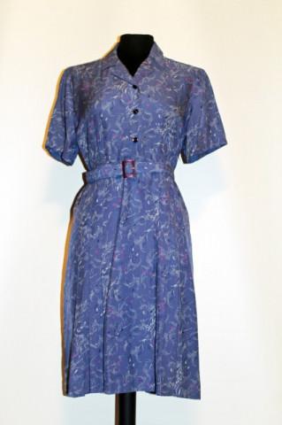 Rochie vintage albastru petrol print punctiform anii '60