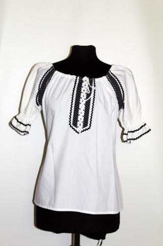 Bluza vintage stil etnic alb cu negru anii '70