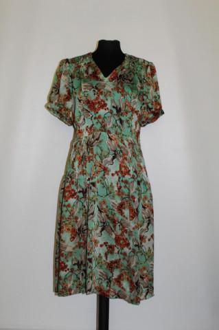 Rochie print floral pe fond verde anii '40