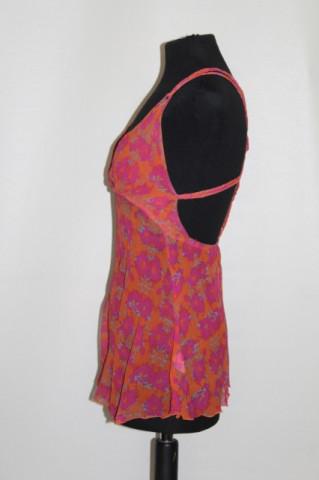 Bluza flori roz pe fond portocaliu anii repro anii '70