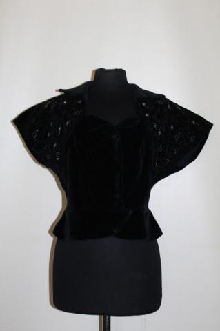 Bluza vintage din catifea cu broderie sparta si cristale anii '30
