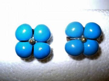 Cercei floare albastru petrol anii '50