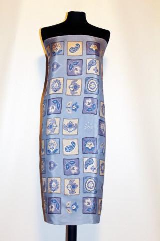 Esarfa retro bleu print floral anii '80