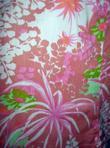 Fusta vintage print vegetal roz anii '70