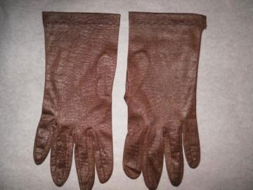 Manusi vintage maro deschis print reptila anii '60 - '70
