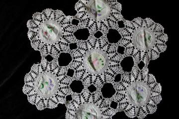 Mileu vintage din crochet și pânză brodată anii 20