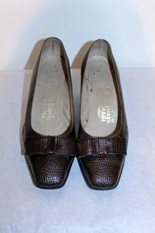 Pantofi vintage maro din piele de soparla anii '40