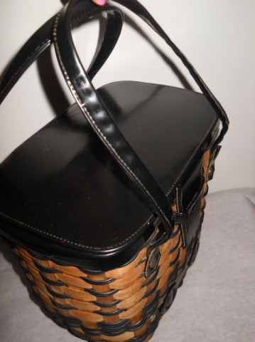 Poseta vintage cosulet negru si maro anii '70