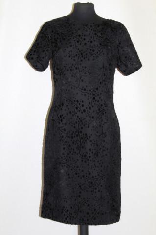 Rochie de ocazie din devore de mătase naturala neagra anii '50