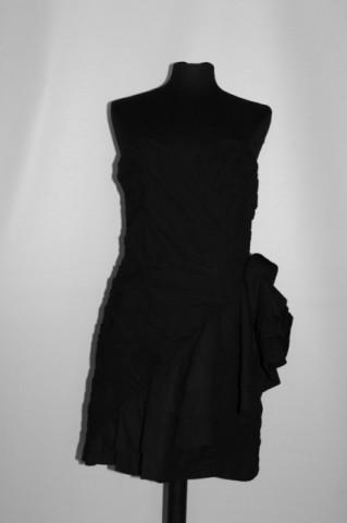Rochie de ocazie neagră pliseuri repro anii 80