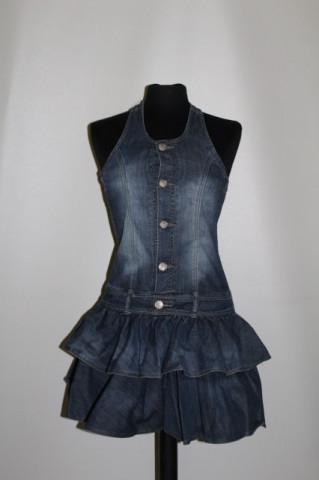 Rochie din jeans cu volane Pomp de Lux