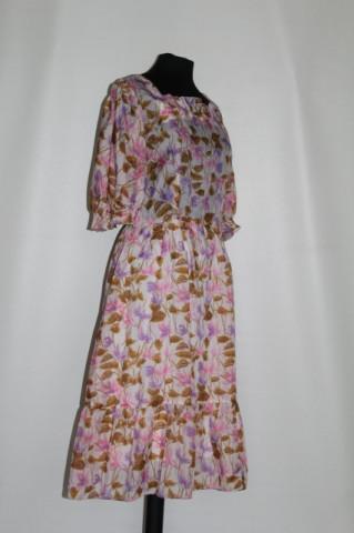 Rochie flori roz si violet anii '70
