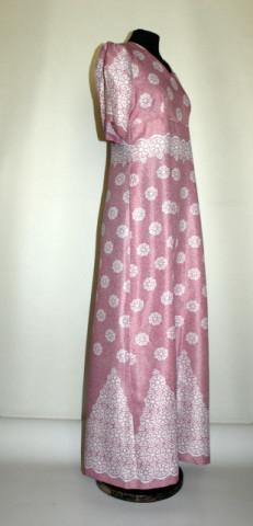 Rochie maxi vintage print floral si marmorat anii '60 -'70