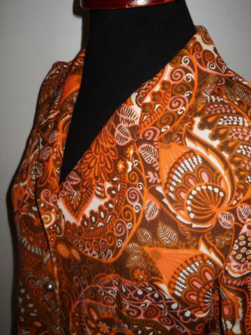 Rochie paisley portocaliu anii '60
