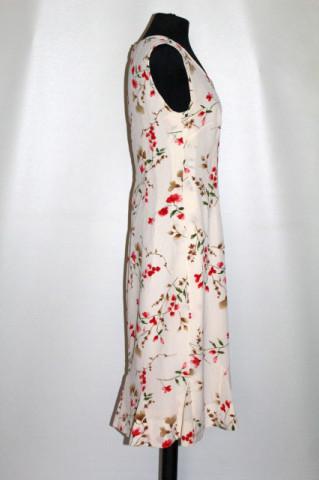 Rochie print floral pe fond crem anii 90