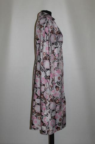 Rochie print floral roz si maro anii '60