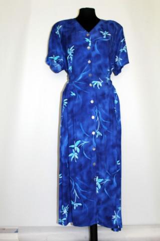 Rochie retro print floral albastru anii '80