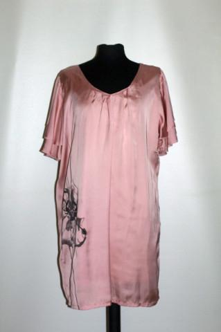 Rochie roz antic print stil pictat repro anii 60
