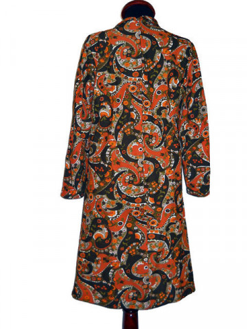 Rochie vintage cu print floral oriental anii '60