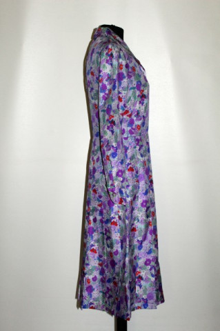 Rochie vintage din matase cu flori violet anii '60