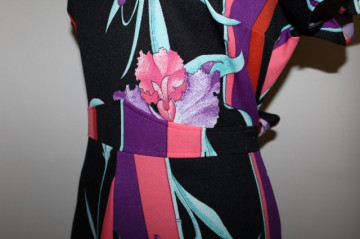 Rochie vintage maxi print orhidee anii 70