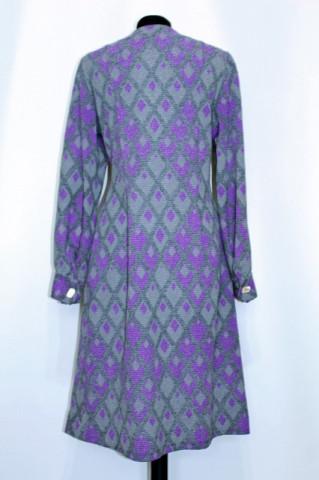 Rochie vintage print geometric violet si gri anii '60