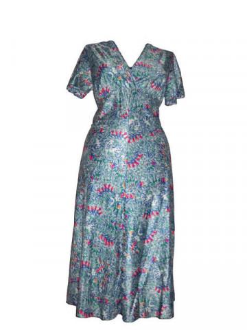 Rochie vintage verde cu albastru anii '70