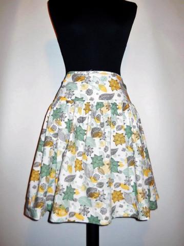 Fusta print floral verde si galben repro anii '60