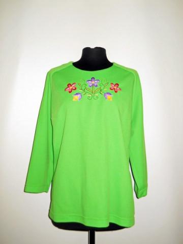 Bluza verde acid flori brodate anii '70