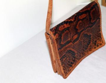 Poseta vintage din piele de sarpe maro anii '70
