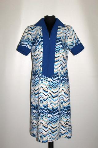 Rochie vintage print geometric albastru și crem anii 70