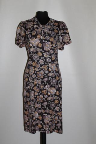 Rochie vintage din satin de mătase naturală maro anii 60