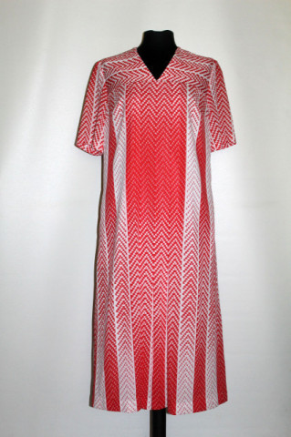 Rochie vintage alb și rosu fusta pliseuri print geometric anii '70