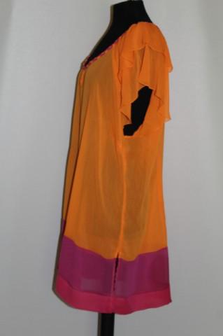 Bluza din georgette bicolor repro anii '70