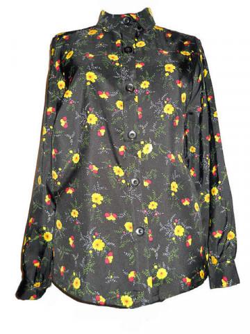 Camasa vintage cu flori galbene pe fond negru anii '60 - '70