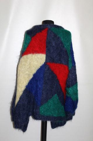 Cardigan din mohair model geometric anii 80