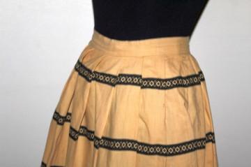 Fustă vintage galben vanilie dungi anii 40