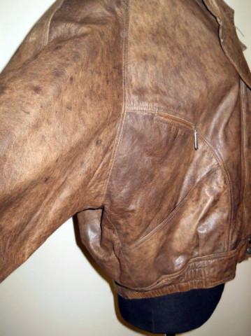 Jacheta din piele naturala maro bole anii '80