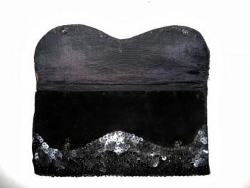 Plic vintage negru brodat cu paiete anii '40